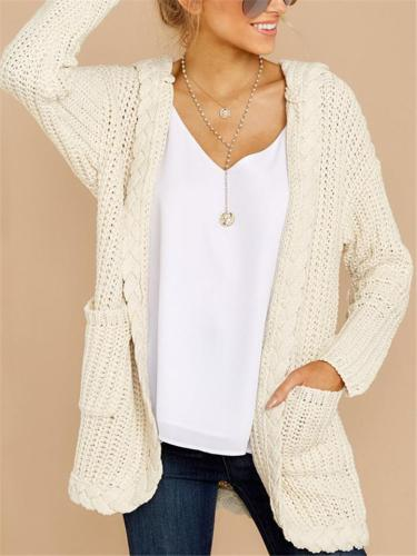 Casual Knitted Hooded Long Cardigan With Pockets