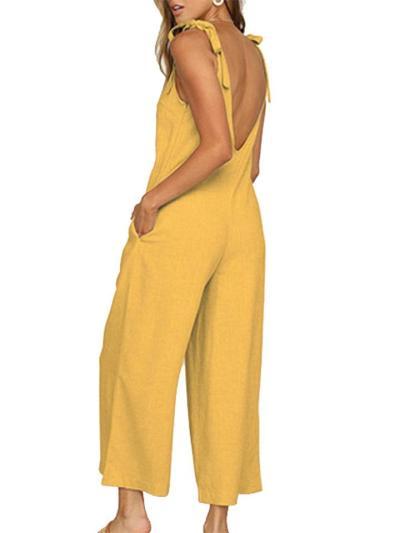 Shoulder Tie-Strap Side Seam Pocket Open Back Wide-Leg Cropped Jumpsuit