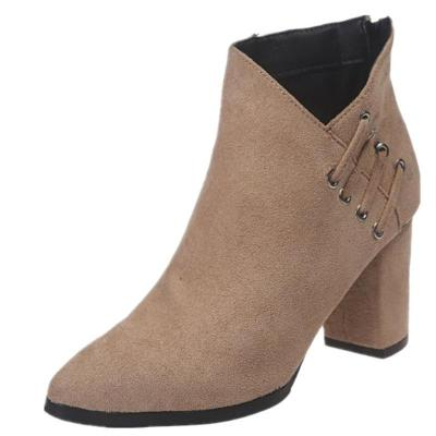 Trendy Pointed Toe Chunky High Heel Back Zipper Short Boots