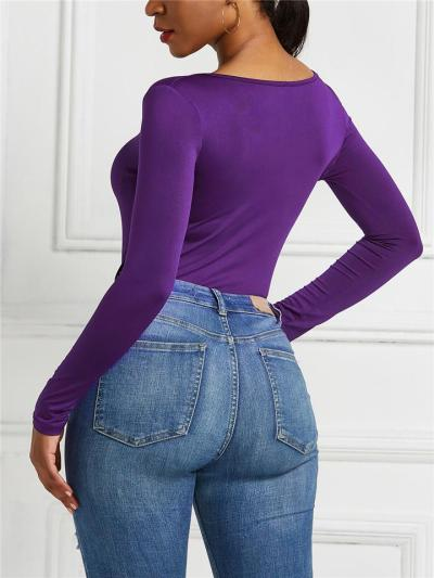Slim Fit Scoop Neck Front Zipper Long Sleeve Solid Color Bodysuit