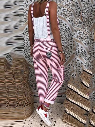 Feminine Casual Contrasting Stripe Cross Strap Back Side Pocket Overalls