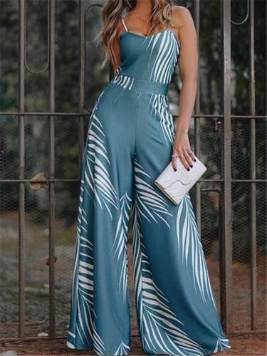 Women's Leaf Print Spaghetti Strap Jumpsuits