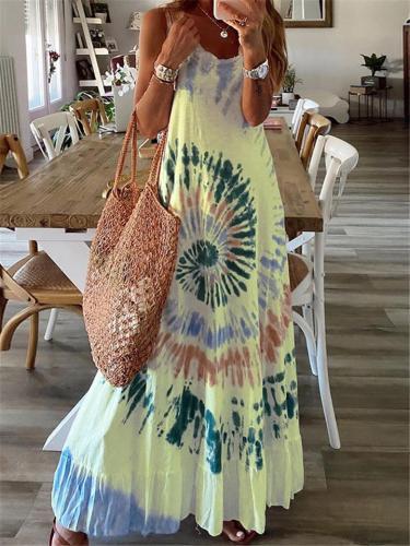 Oversized Fit Crew Neck Pleated Hem Sleeveless Multicolor Maxi Dress