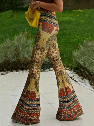 Bohemian Style Mid Waisted Print Bell-Bottom Pants