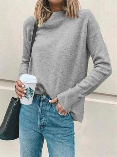 Relaxed Fit High Neck Solid Color Long Sleeve Basic Shirt