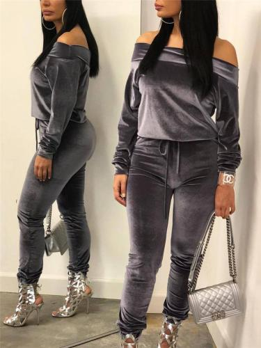 Casual Fit Corduroy Two Piece Sets Off The Shoulder Stretch Tops + Drawstring Pants