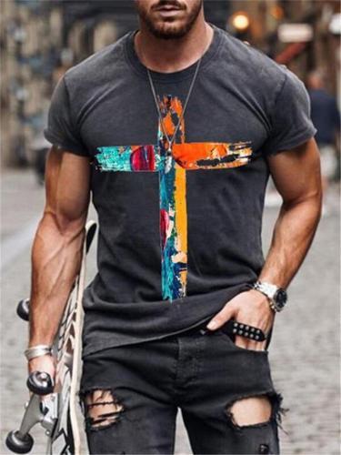 Mens Street Style Cross Printing ShortSleeveT-shirt