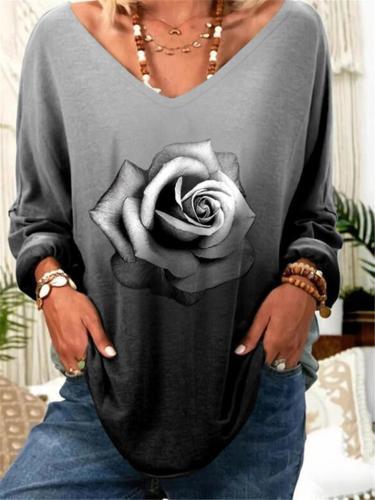 Oversized V Neck Floral Pattern Long Sleeve Pullover Tops