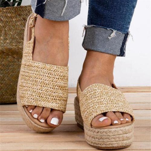 Women Peep Toe Comfy Casual Buckle Strap Platform Sandals