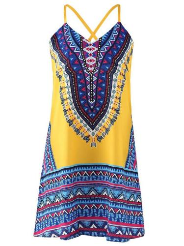 Ethnic Style V Neck Strappy Geometric Pattern Flare Mini Dress