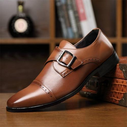 Mens Vintage Business Formal Leather Monk Strap Shoes
