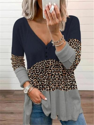 Casual Fit V Neck Leopard Pattern Contrasting Long Sleeve Tops