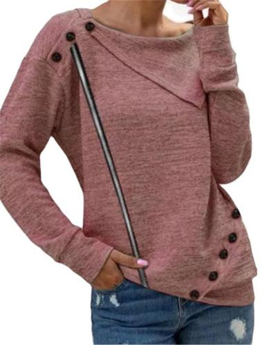 Casual Style Round Neck Asymmetric Design Button Knitted Pullover Tops