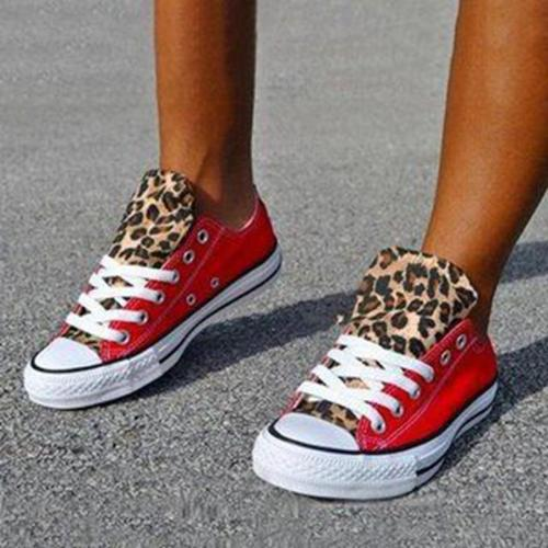 Lace-Up Red and Cheetah Print Canvas Sneakers