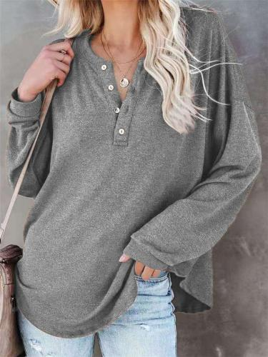 Regular Fit Round Neck Front Button Long Sleeve Solid Pullover Tops