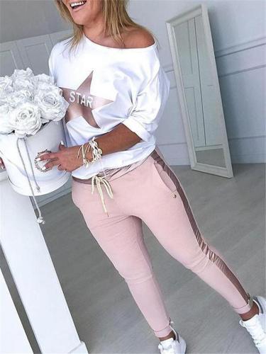 Casual Cotton Sets Star Print Shirt + Legging Pants