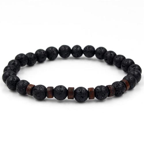 Men's Stylish White Crystal Volcanic Rocks Beaded String Bracelet
