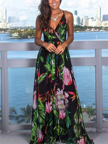 Floral Wrap Neck Strap Empire Waist Crossback Maxi Beach Dress