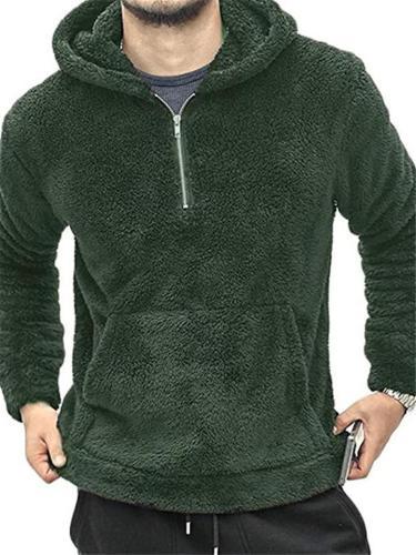 Mens Cozy Warm Long Sleeve Plush Kangaroo Pocket Hoodie