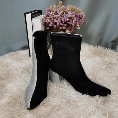 Shimmering Pointed-Toe Contrasting Chunky High Heel Boots