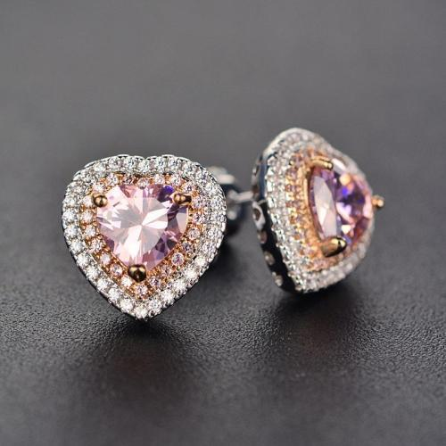 Beautiful Pink Crystal Heart Earring Studs For Women