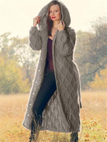 Ultra Warm Button Up Hooded Long Sweater with Waist Tie
