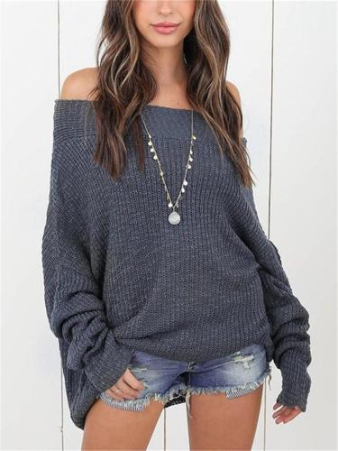 Loose Fit Solid Color Long Sleeve Ribbed Knit Sweater