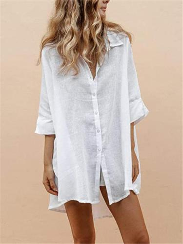 Relaxed Fit Lapel Collar Half Sleeve Button Up Sun Shirt Cotton Linen Blouse