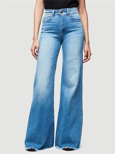 Trendy Frayed Hem Washed Effect Wide Leg Denim Pants