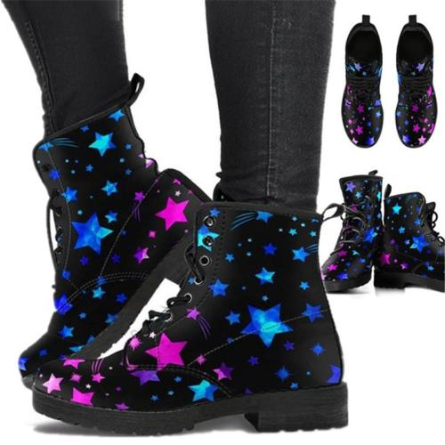 Creative Cartoon Printed Lace Up Non-Slip Short Boots