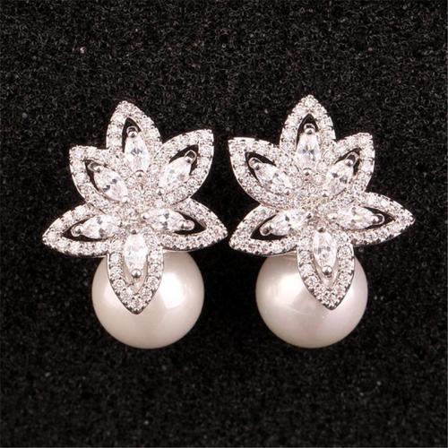 Elegant Floral Pearl Rhinestone Zirconium Silver Earrings
