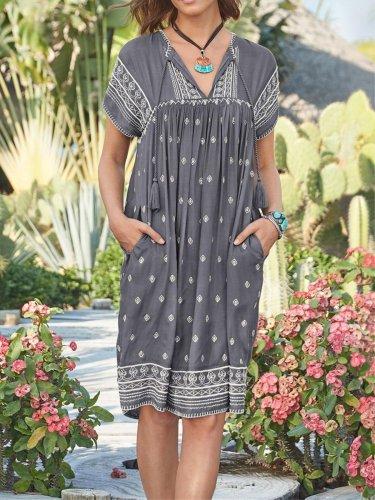 Printed Casual Short Sleeve Dresses