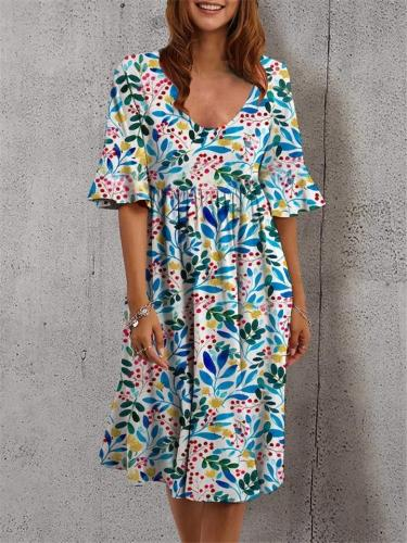 Fashionable Scoop Neck Floral Printed Flare Short Sleeve Pleated Dress