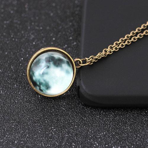 Vintage Pendant Necklace Glass Spherical Surface Luminous Moon Necklace