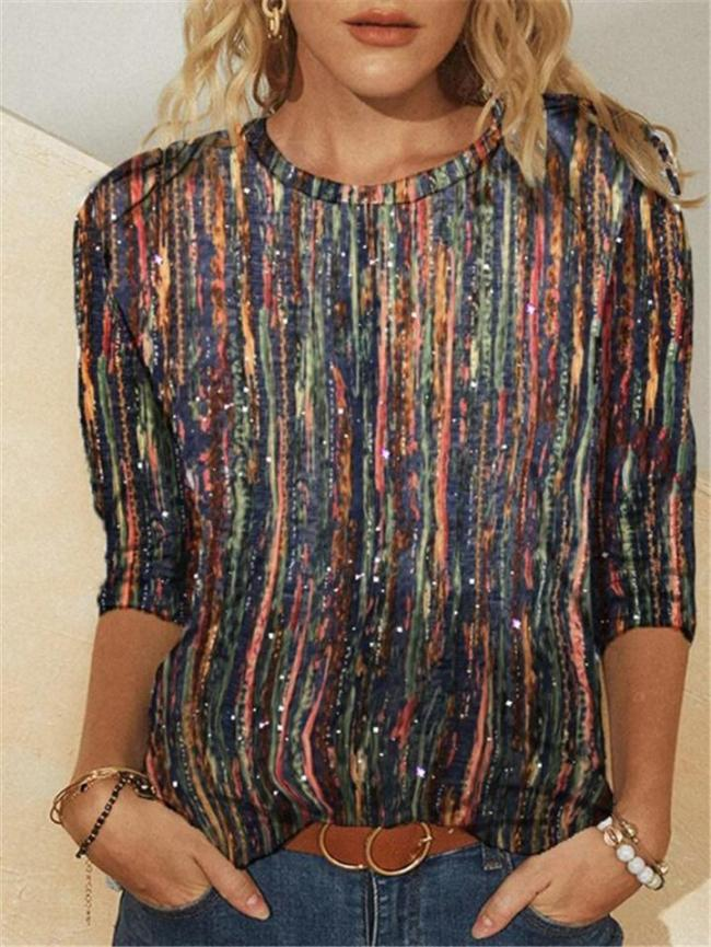 Relaxed Fit Round Neck Striped Multicolor Long Sleeve Pullover Tops