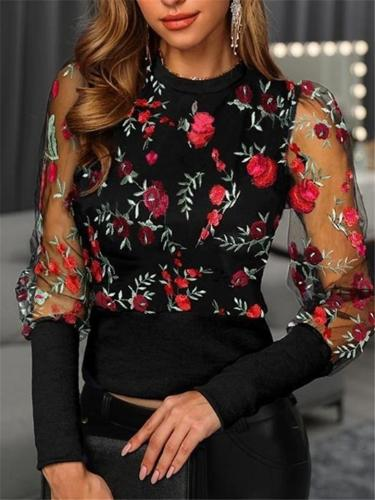 Pretty High Neck Floral Lace Embroidery Transparent Sleeve Tops