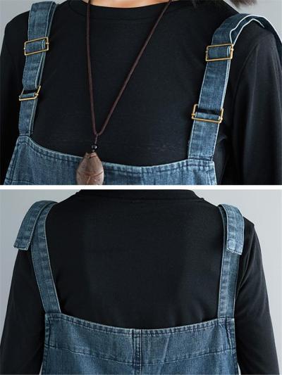 Loose Fit Square Neck Adjustable Strap Pocket Patchwork Denim Bibs