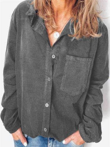 Casual Style Button Up Chest Pocket Corduroy Long Sleeve Blouse