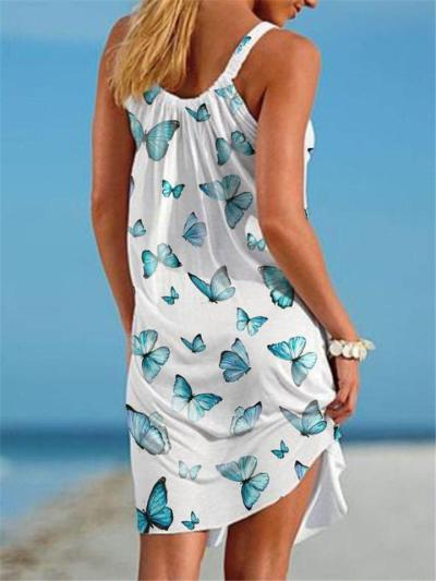 Casual Style Scoop Neck Butterfly Sleeveless A-Lined Beach Dress