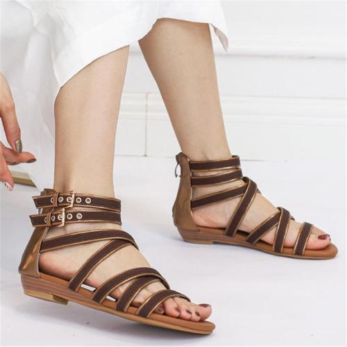 Casual Style Open-Toe Cross Strap Back Zipper Buckle Up Low Heel Sandals