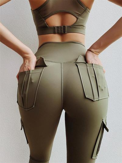 Slim Fit Multi-Pocket Yoga Cargo Pants Jogging Leggings