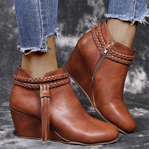 Pretty Tassel Leather Wedge Boots For Women