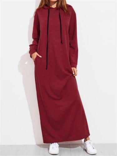 Solid Color Casual LongSleeve Hooded Shift Dress With Pocket