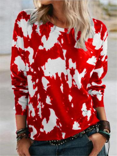 Relaxed Fit Round Neck Contrasting Printed Long Sleeve Pullover Tops