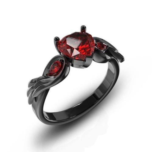 Cool Black Color Wings Ring With Red Stone