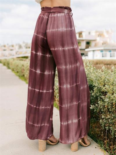Fashionable Tie-Dye Waistband Front Slit Wide-Leg Pants