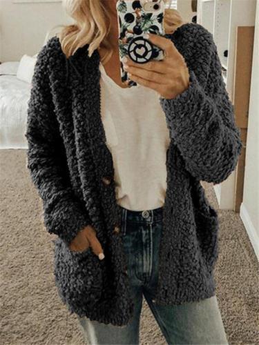 Winter Women Loose Comfort Pocketed Cardigan Coat