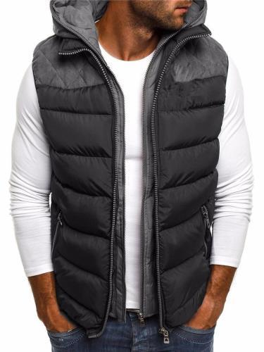 Mens Stylish Color Block Hooded Padded Vest