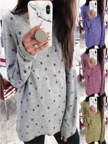 Lightweight Stars Print Long Sleeve Cotton Shirt