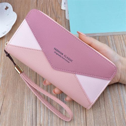 Women's Stylish Color Block Long Handbags